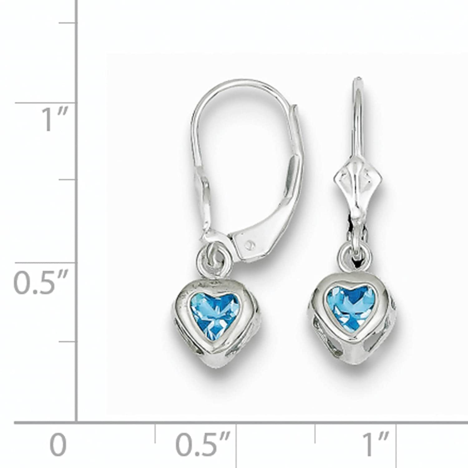 925 Sterling Silver Rhodium-plated 5mm Heart Blue Topaz December Stone Leverback Dangle Earrings