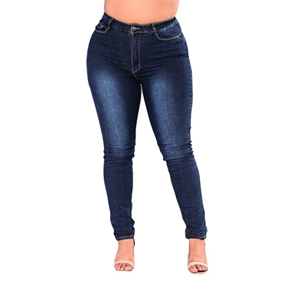 Damen Skinny High Waist Denim Hosen Boyfriend Stretch Jeans Hose Röhrenjeans