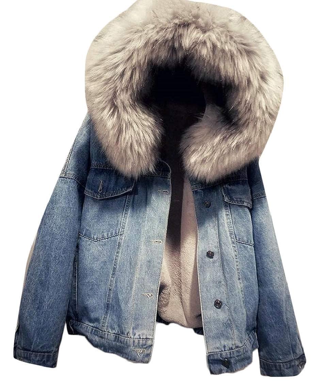 1 desolateness Women Long Sleeve ShearlingLined Fur Hooded Denim Jacket Coat Outwear