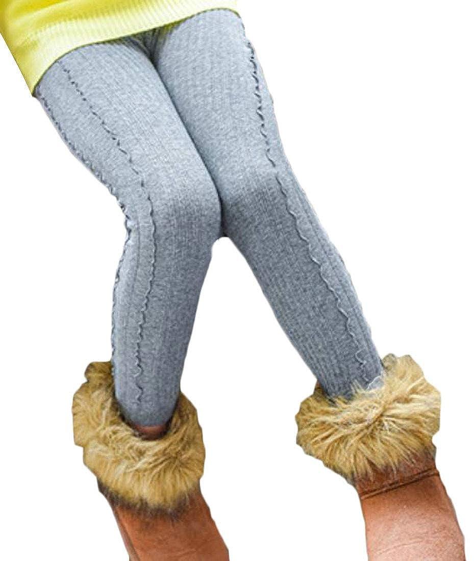 Etecredpow Girls Fleece Winter Warm Elastic Waist Tights Thicken Leggings Pants