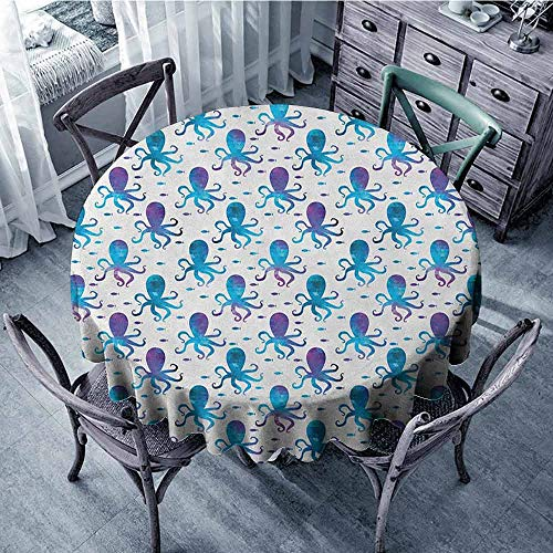 ScottDecor Dining Round Tablecloth Printed Tablecloth Octopus,Mosaic Pattern Marine Animal Silhouettes Abstract Nautical Polygonal Design, Blue Purple White Diameter 54