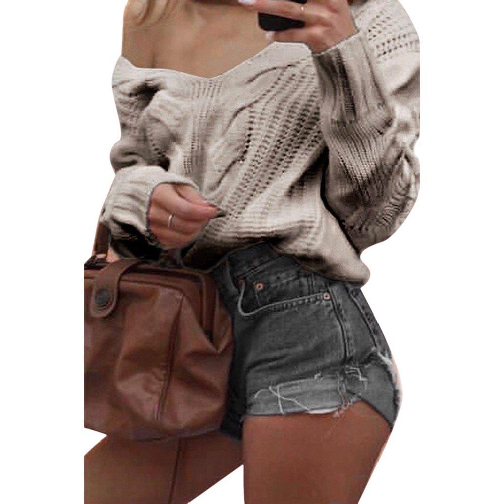 Wenyujh Damen Pullover Langarm Sweatshirt Herbst Winter Pulli Tiefer V-Ausschnitt  One Shoulder Einfarbig Loose Fit  Amazon.de  Bekleidung 3deb52c674