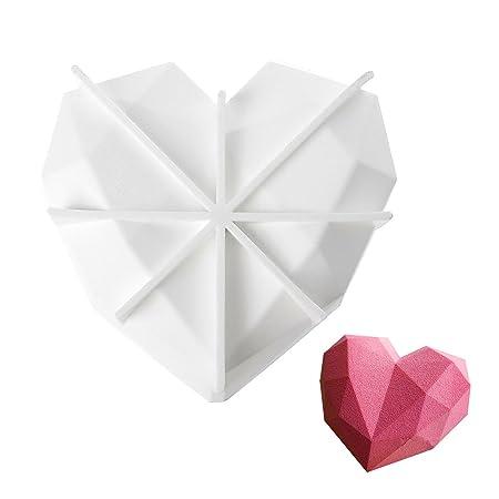beicemania Silikon Backform Herz 3D Kuchenform Herzform Silikon Diamond 3D Mousse Backform 20 cm