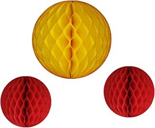 product image for Honeycomb Balls, Set of 3, 12 inch and 8 inches (Fire - Gold/Red)