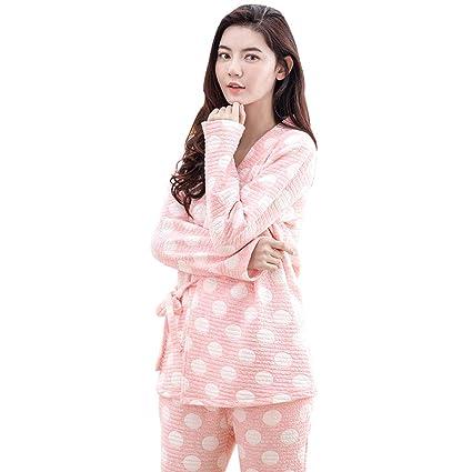 3afca6b341967 Nightwear Pajamas Pregnant Women Self-tie Belt Nightgown Sweet Pink Cotton  Pregnancy Homedressing Fashion Breastfeeding