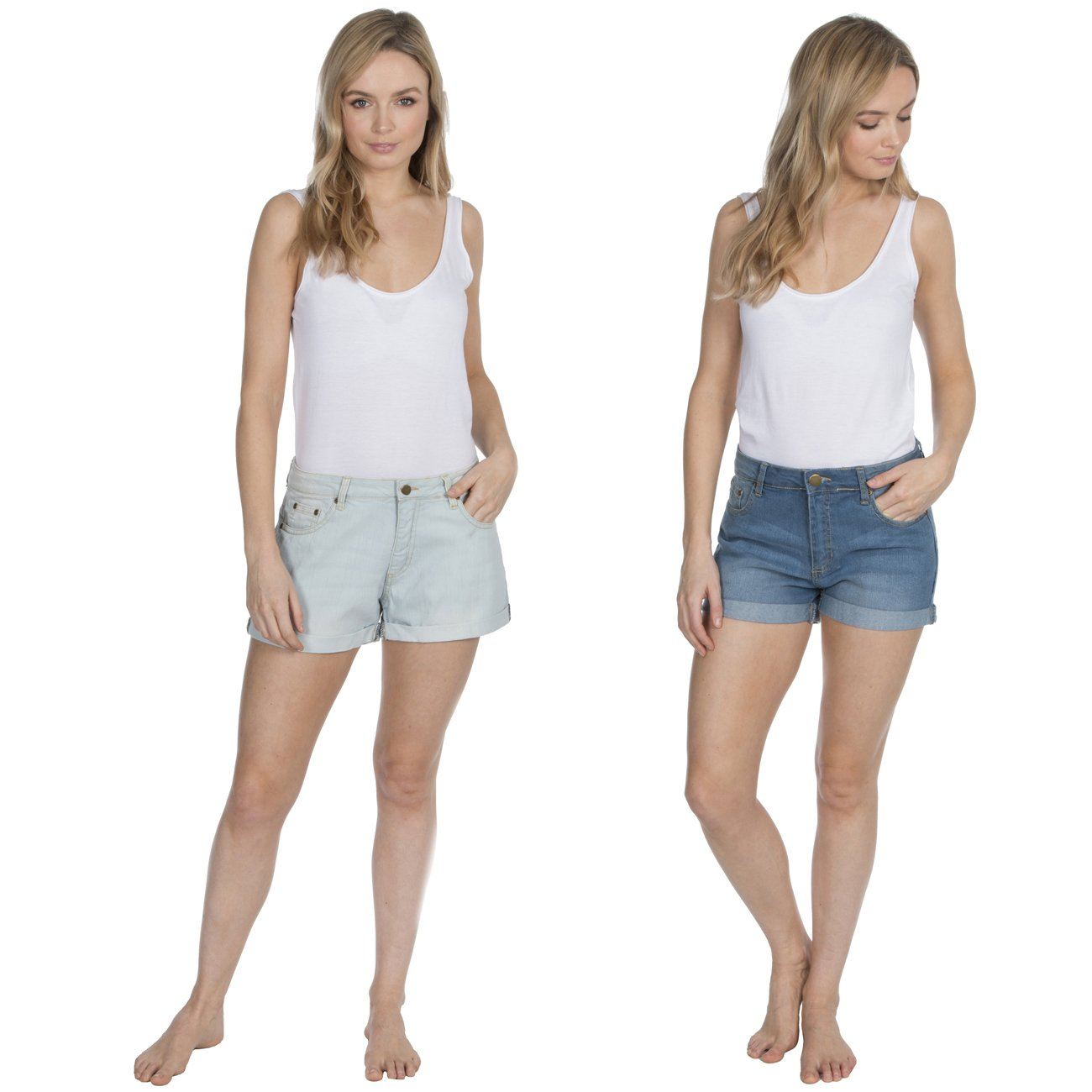 Causeway Bay Washed Denim Shorts Hot Pants (Sizes 8-22)