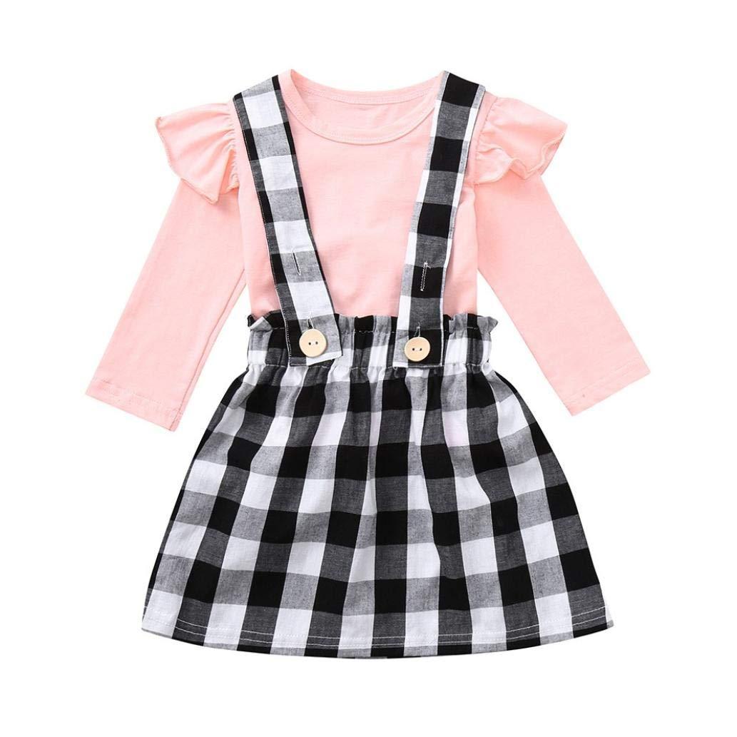 7bfcdd49e023 Amazon.com  Pocciol Clearance Toddler Baby Girls Lattice Strap Skirt ...