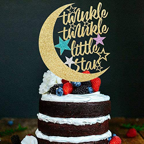 PALASASA Twinkle Twinkle Little Star Cake Topper,Half Moon Multi Color Little Star Birthday Party Baby Shower Gender Reveal Glitter Decorations (Gold)
