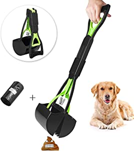 SCPET Pet Pooper Scooper for Dogs and Cats with Long Handle Foldable Dog Poop Waste Pick Up Rake, Jaw Claw Bin for Grass and Gravel