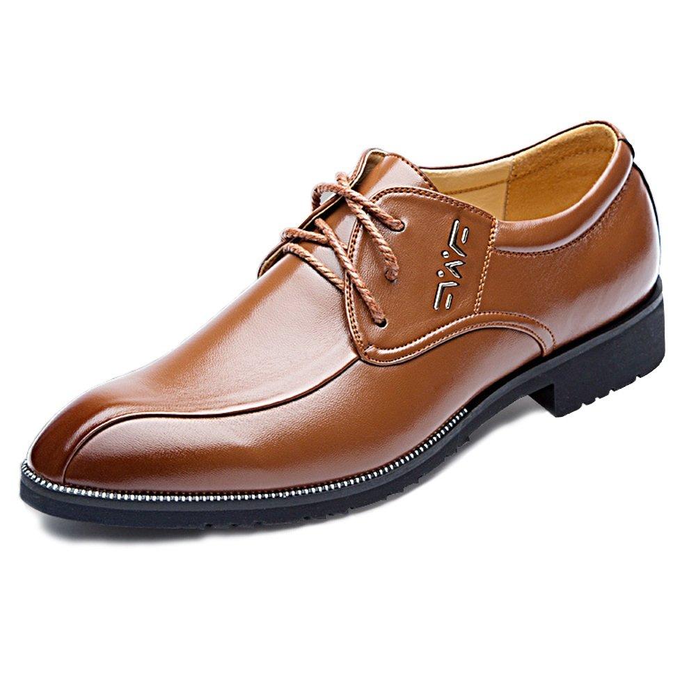 Zapatos de Cuero de los Hombres Clásicos Cuero de la PU de la Empresa Formal Oxfords Pisos de Suela Blanda para Caballeros ! 8 UK Marrón