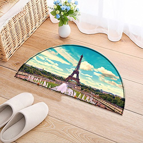 NALAHOMEQQ Non Slip Backing Door Mat Eiffel Tower and fountain at Jardins du Trocadero, Paris, France. Travel background with retro vintage instag Floor Bathroom Bedding Rug(31.5x19.7 INCH) by NALAHOMEQQ