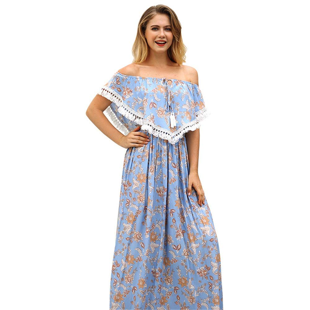 bluee Women Beach Dress Womens Off The Shoulder Ruffle Party Dresses Floral Printed Beach Maxi Dresses Sundress Summer Holiday Bohemian Dress Summer Dresses (color   bluee, Size   M)