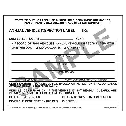 100 Annual Vehicle Inspection Label - Vinyl w/Mylar Laminate