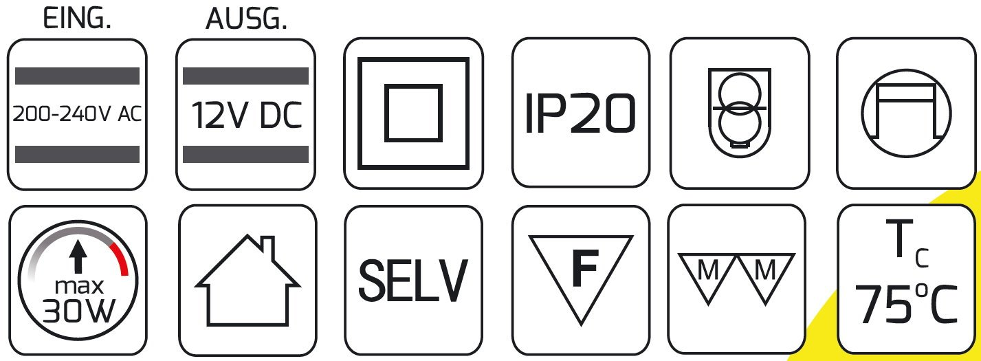 /6/Mini prises int/égr/ée Transformateur 2/en 1/LED 30/W 230/V  12/V/