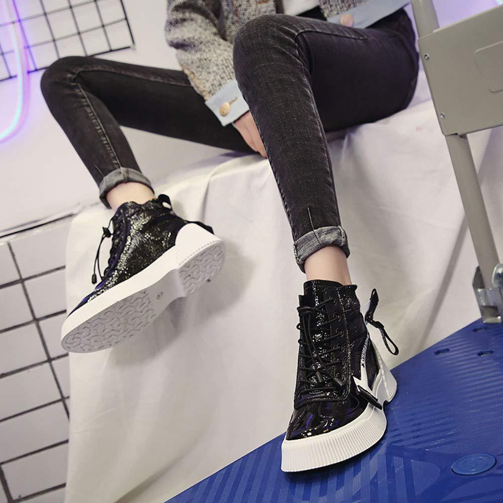 W-QPYC Frauen Flache Gelegenheitsschuhe High-Top-Reißverschluss Stiefel Cross-Gurt Wasserdichte - Plattform Herbst,schwarz,38 - Wasserdichte 06bbe7