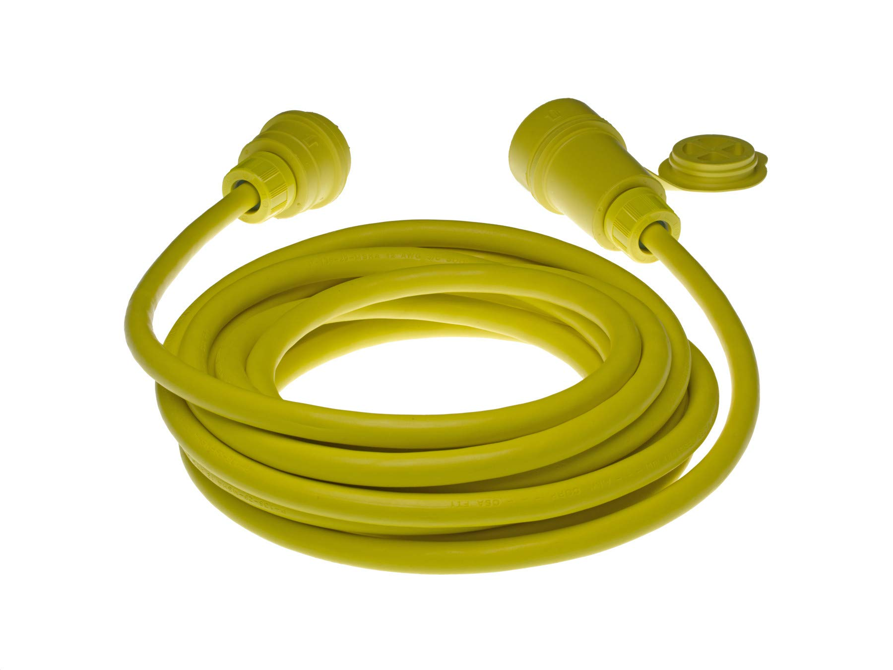 Woodhead 28W47A103 Watertite Wet Location Locking Blade Cordset, 3 Wires, 2 Poles, NEMA L5-30 Configuration, 10-Gauge SOOW Cord, Yellow, 30A Current, 125V Voltage, 25ft Cord Length