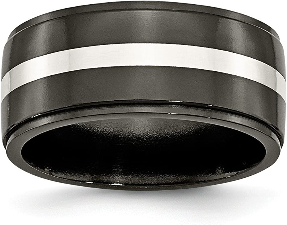 Brilliant Bijou Titanium Black Ti with Solid .925 Sterling Silver Inlay 10mm Polished Band