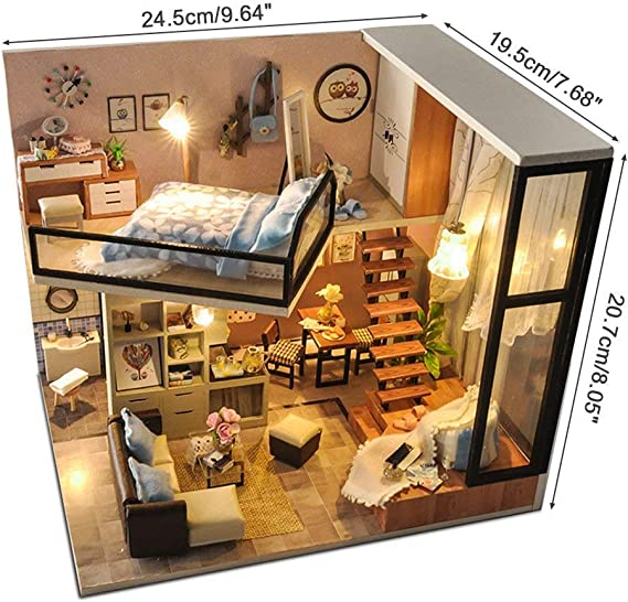 Dollhouse Miniature with Furniture,DIY 3D Wooden Doll House Kit Shop Style Plus with Dust Cover and LED,1:24 Scale Creative Room Idea Best Gift for Children Friend Lover Miss Cake Afternoon Tea