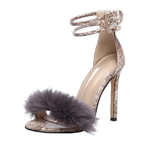 646d1abcd59 Femme Chaussure Mode Escarpin Pompom Chaussures à Talons Frange Talon Haut  Aiguille 11cm Chaussures pour Mariage Fete Club Chaussures  Amazon.fr   Chaussures ...