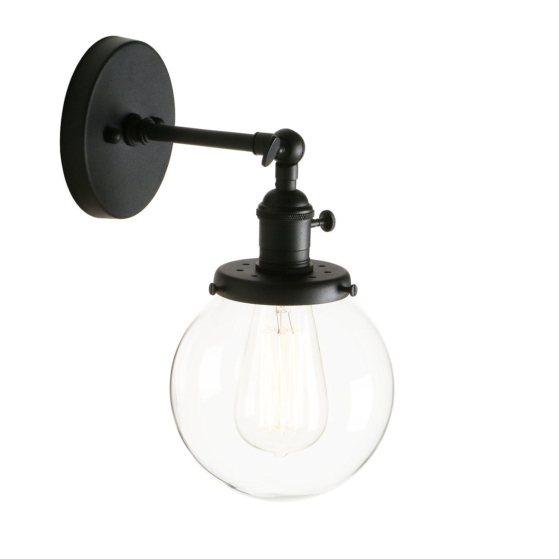 Pathson R/églable Applique Verre Boule Abat-jour Lampe R/étro Industrial Applique Murale R/étro Eclairage Noir