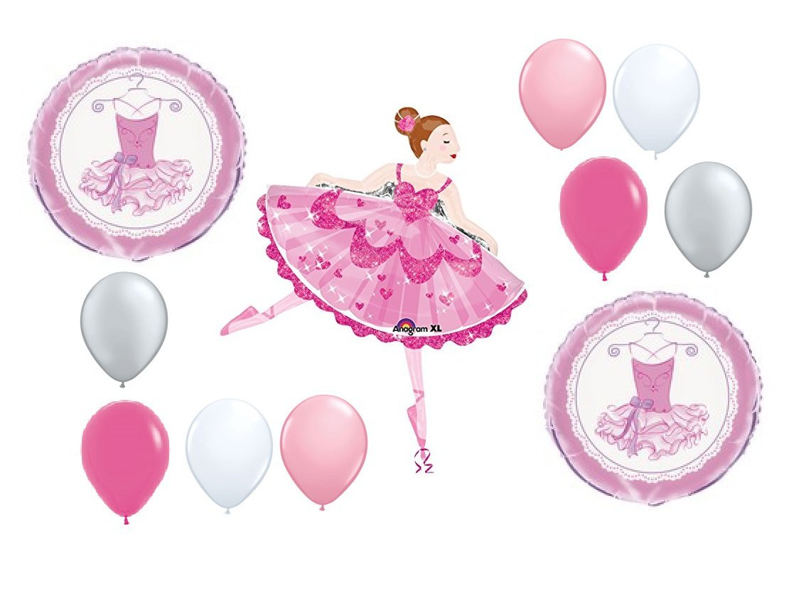 11pc BALLOON set BALLET ballerina DANCE recital PARTY new BIRTHDAY or ANY OCCASION favors DECORATIONS