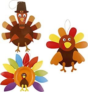 Thanksgiving Turkey Craft Kits, DIY Make A Turkey for Festive Fall Thanksgiving Party Game School Activities and Door Hanging Ornament Decoration Supplies for Kids and Adults, 3 Pack