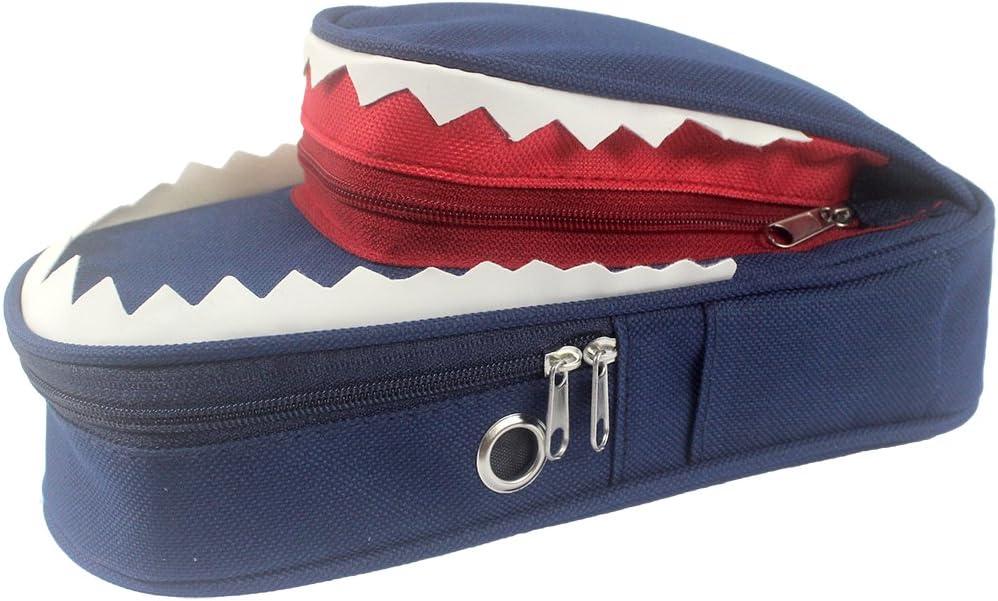 double couche avec poche lat/érale bleu Sipliv Sac /à crayons /à requin 3d