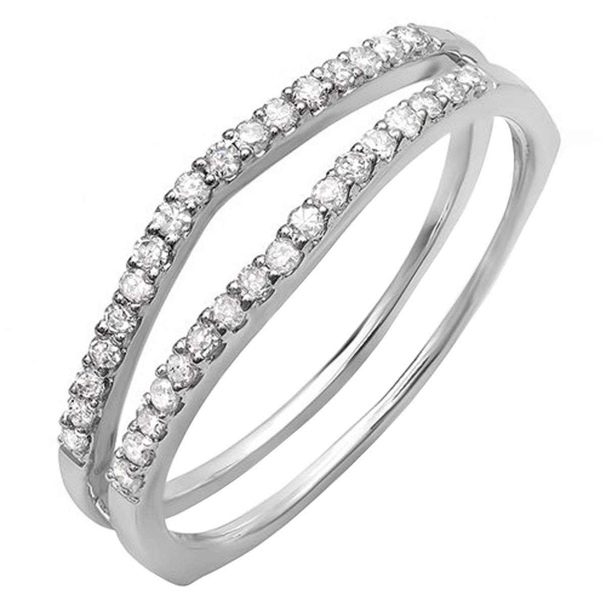 Dazzlingrock Collection 0.25 Carat (ctw) 14K Round White Diamond Anniversary Enhancer Guard Matching Wedding Chevron Ring Band 1/4 CT, White Gold, Size 7