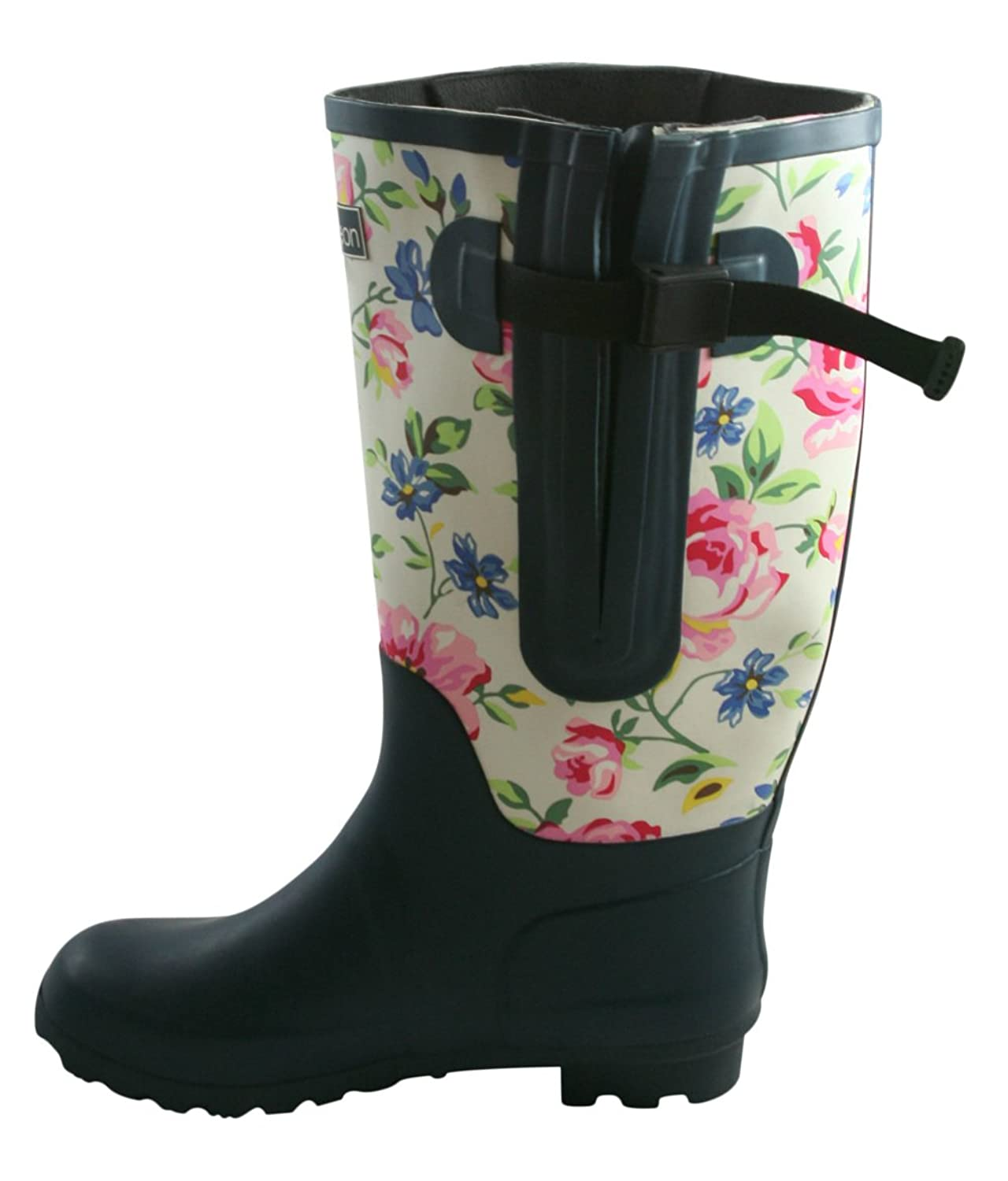 Extra Wide Fit Rain Boots - Double Gusset - 2 Tone Floral: Up to 21