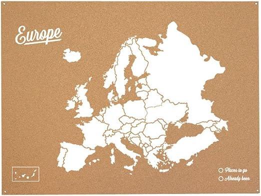 Miss Wood Mapa de Europa de Corcho, Pino, Blanco, XL-60x90cm ...