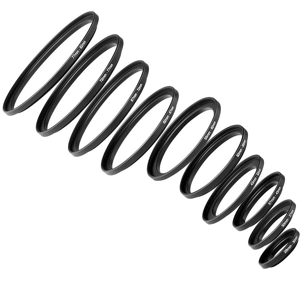 52-43mm 43-37mm 30-26mm Neewer/® 10 Piezas Set de Anodizado Negro Metal Step-Down Adaptador de Anillo Incluyendo 82-77mm 67-62mm 37-30mm 55-52mm 77-72mm 62-55mm 72-67mm
