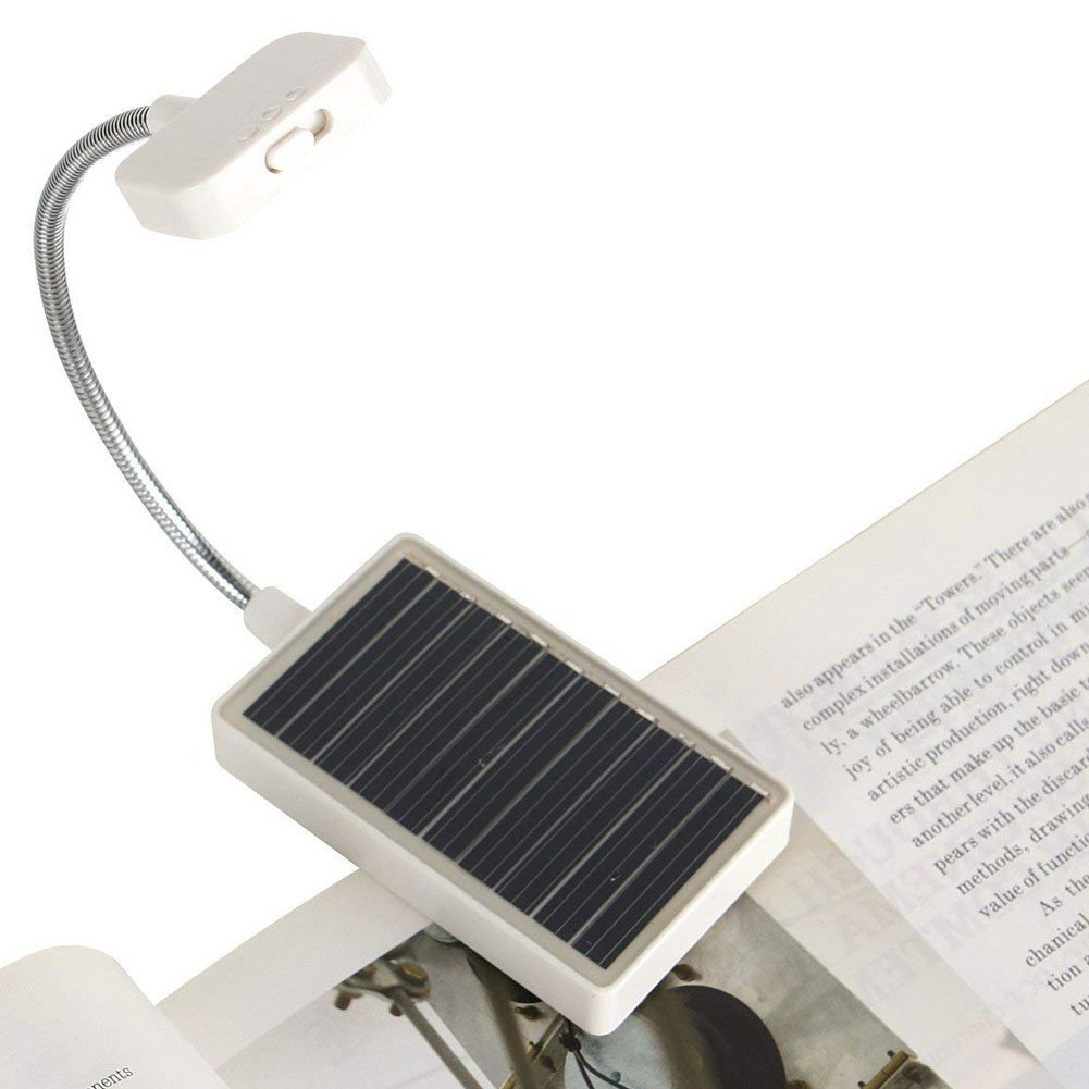 Solar Clip on Book Light, Glovion LED Reading Light USB Rechargeable and Solar Powered, 2 Brightness Settings Flexible Neck& Clip-on-White
