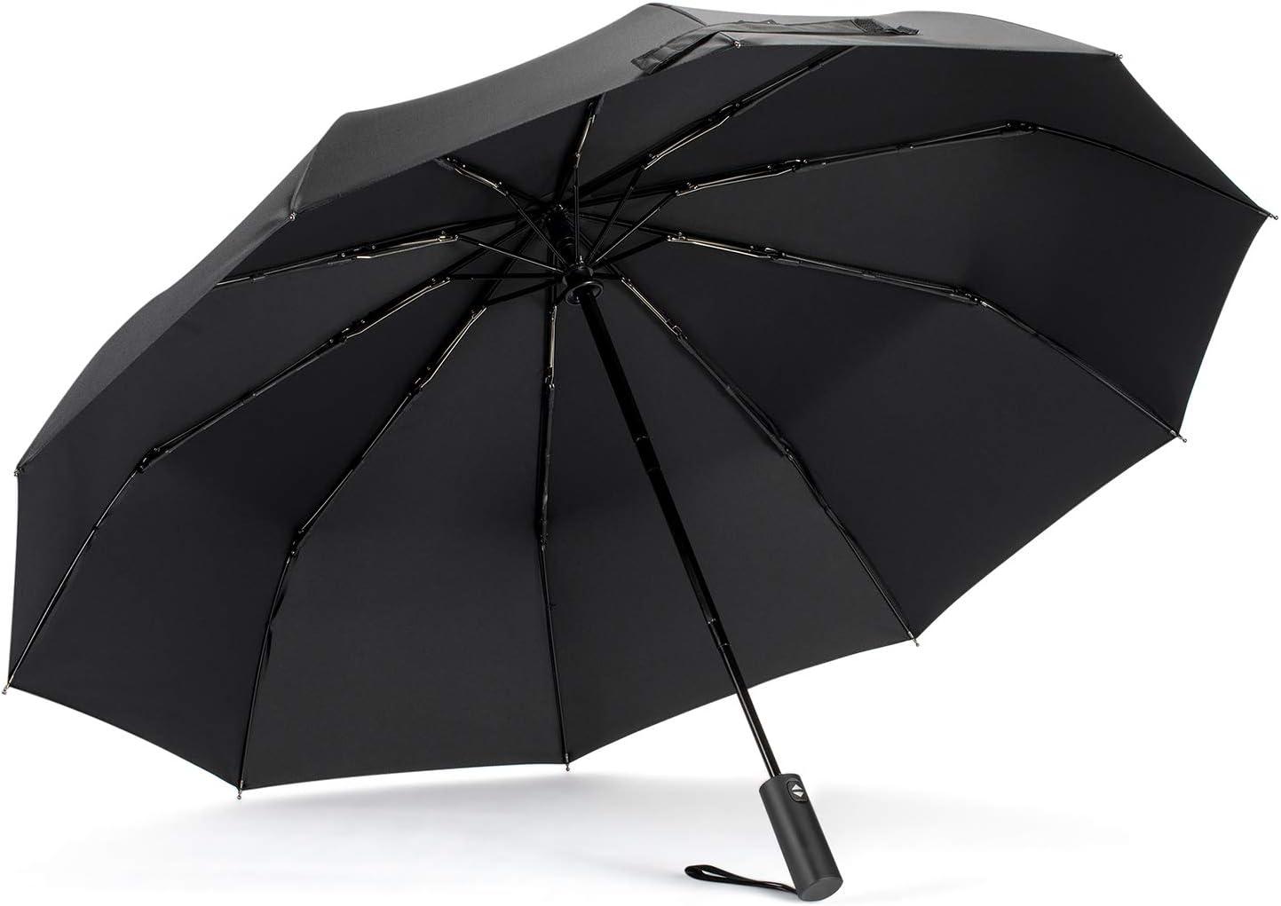 Nero Tasikar Ombrello Portatile Automatico Antivento con 10 Costole Auto Open Close e Maniglia Non-Scivolosa Ombrello da Viaggi Compatto