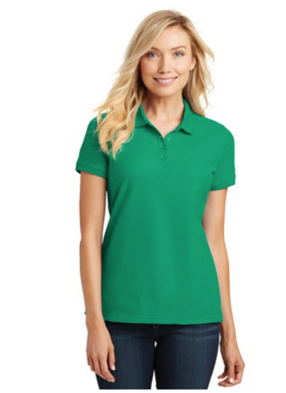 Port Authority Ladies Core Classic Pique Short Sleeved Golf Polo, X-Large, Bright Kelly Green