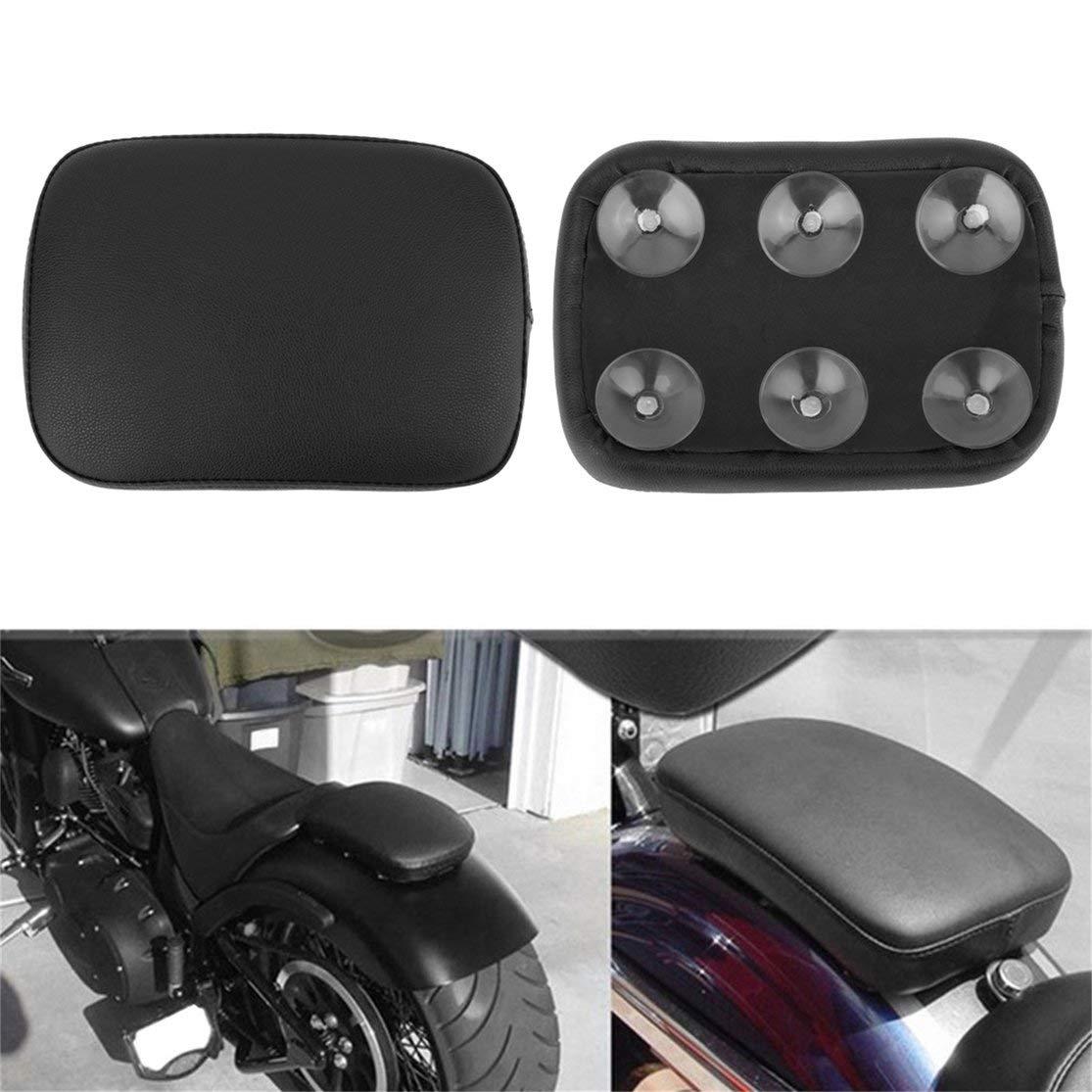 LouiseEvel215 Schwarzes Beifahrerkissen mit 6 Saugn/äpfen f/ür Harley Dyna Sportster Softail Touring XL883 1200 X48