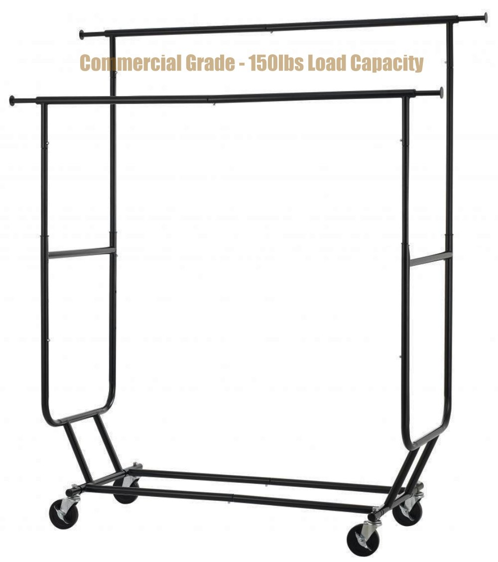 New Commercial Grade Collapsible Clothing Rolling Double Garment Hanger Heavy Duty Steel Rack/ Black Finish #1184b