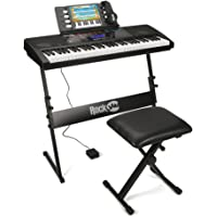 RockJam RJ761 61 Key Electronic Interactive Teaching Piano Keyboard with Stand, Stool, Sustain Pedal and Headphones