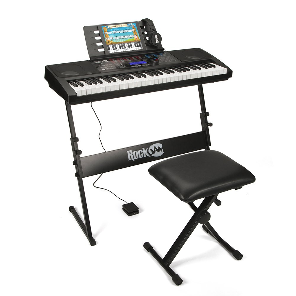 RockJam RJ761-SK Key Electronic Interactive Teaching Piano Keyboard with Stand, Stool, Sustain pedal & Headphones Keyboard SuperKit