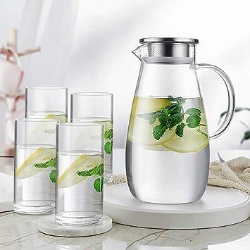 Jarra de vidrio, botella de agua de vidrio Fácil de limpiar, fácil ...