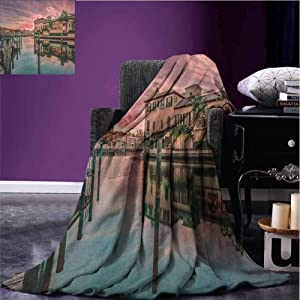 JKTOWN Cityscape Blanket Fashion Light and Breathable 70x84 inch Colorful Sunrise Over Venetian Bay Naples Florida Apartments Trees Waterscape Purple Green