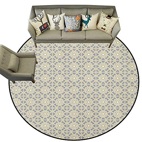 (Ethnic,Round Rug Portuguese Azulejo Tiles Pattern with Moroccan Inspirations Geometric Squares Lines D72 Baby Room Decor Round Carpets)