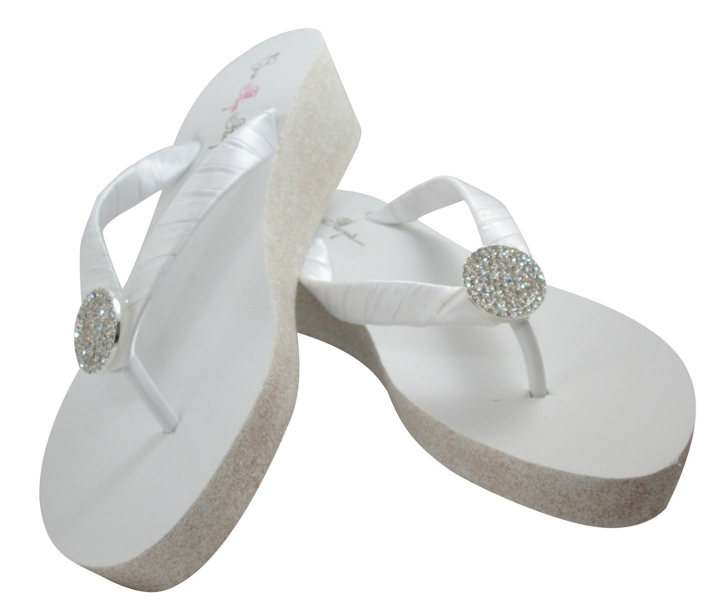 56b4f01bd3f3 Amazon.com  Glitter 2 inch Heel Flip Flops Wedding White Wedges White  Silver Glitter Wedge Jewel Wedding Bridal Flip Flops - Customizable Colors  and Bling  ...