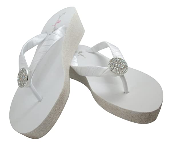 a3390fae6936 Amazon.com  Glitter 2 inch Heel Flip Flops Wedding White Wedges White  Silver Glitter Wedge Jewel Wedding Bridal Flip Flops - Customizable Colors  and Bling  ...