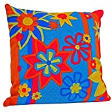 SEAICH Handcrafted Embroidered Flower Pillow (India) Multi
