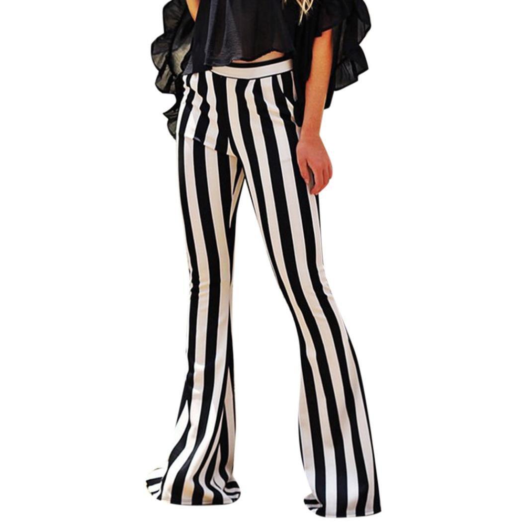 ba07e14ec Amazon.com: Women Pants,vmree Bell Bottoms Flare Trousers High Waist Stretch  Vertical Stripe Long Pants: Clothing