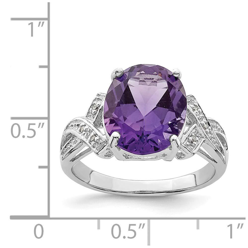 0.02cttw Mia Diamonds 925 Sterling Silver Solid Rhodium Amethyst Diamond Ring