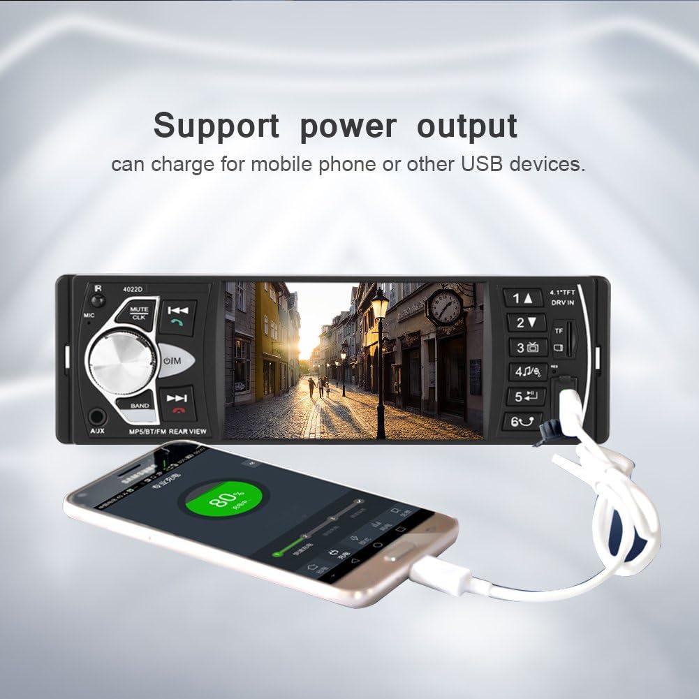 con c/ámara Radio Coche Acouto Reproductor MP5 4.1 Pulgadas Pantalla HD Est/éreo de Coche Bluetooth Manos Libres Reproducci/ón de Video Radio FM AUX TF USB con Control Remoto