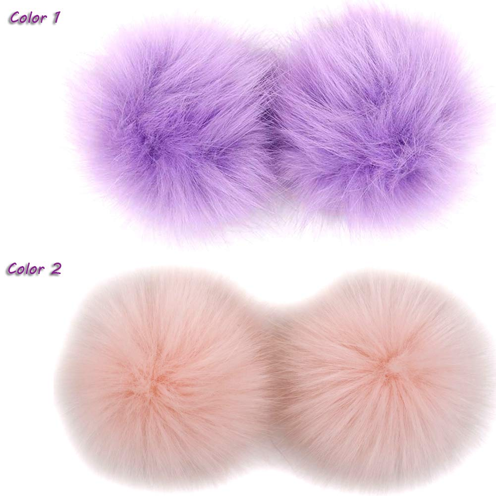NASHALYLY DIY 12pcs Faux Fox Fur Fluffy Pompom Ball Mix Colors for Hats Shoes Scarves Bag Charms Accessories A1