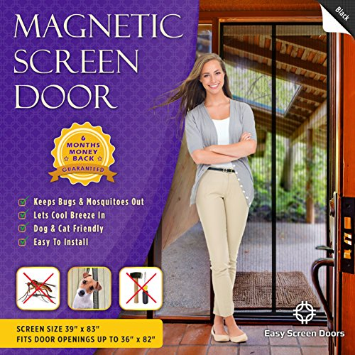 Magnetic Screen Door, Mesh Curtain - Keeps Mosquitoes Out - Full Frame Velcro - Toddler and Dog Friendly - Fits Doors Up To 36 - Inch By 82 - Inch MAX (Patio Door For Screen Doors)