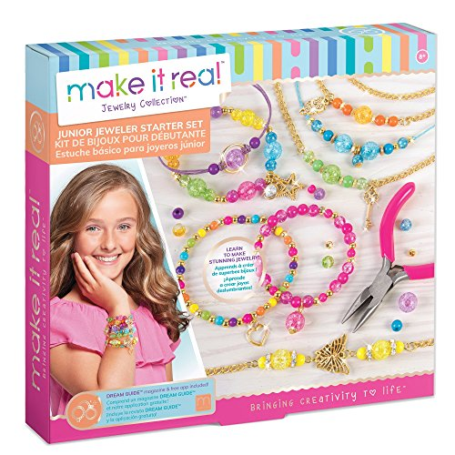 Make It Real - Junior Jeweler Starter Set. DIY Tween Girls Jewelry Making Kit. Arts and Crafts Kit Guides Kids to Design and Create Beautiful Bracelets with Beads & Gold Charms